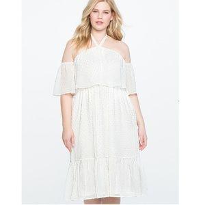22 Eloquii Halter Style Textured Overlay Dress